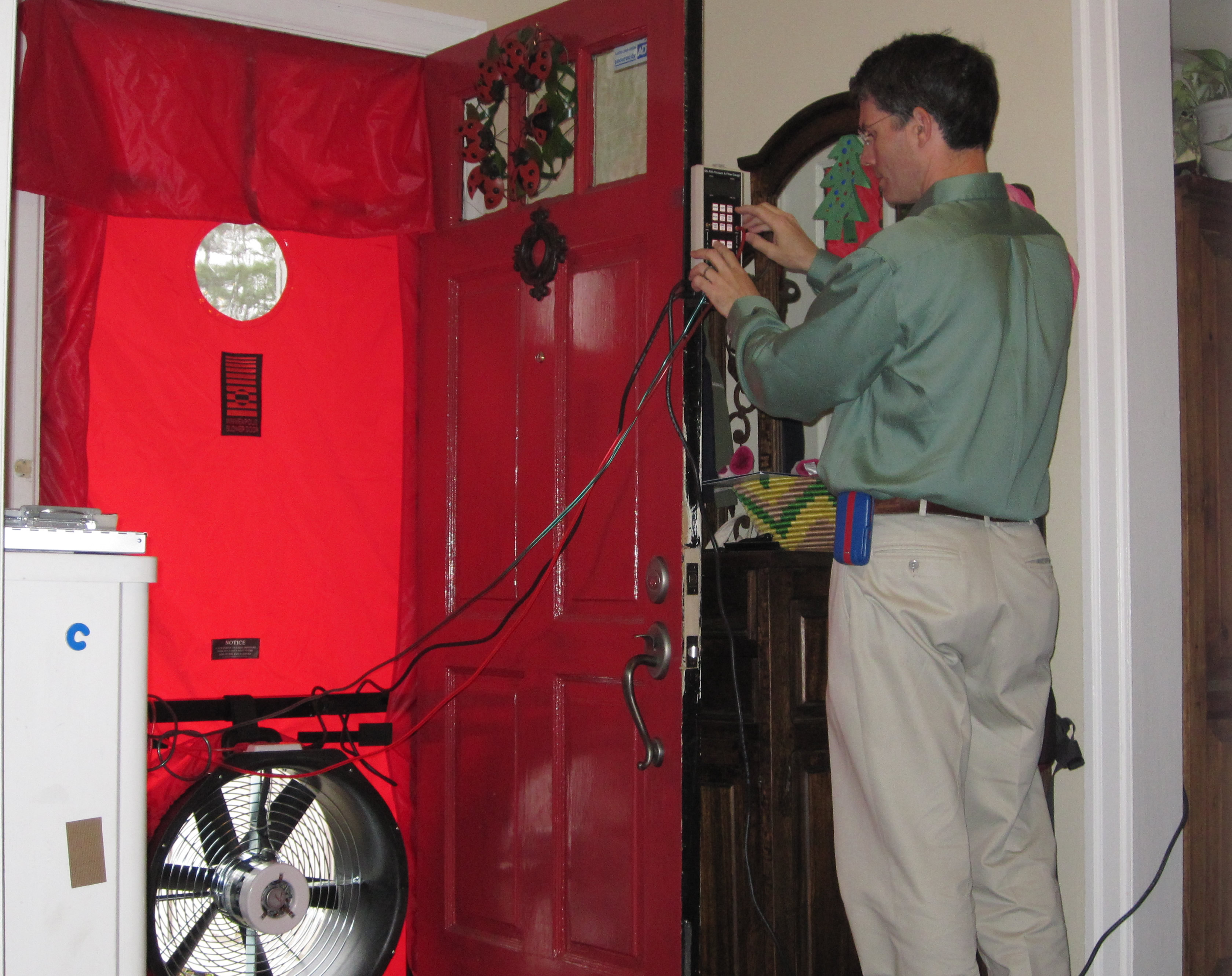 testing door of utility test blow and the envelope journal building blower